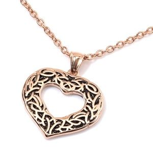 """Jewelry - RG Plated Heart Pendant Necklace 20"""""""